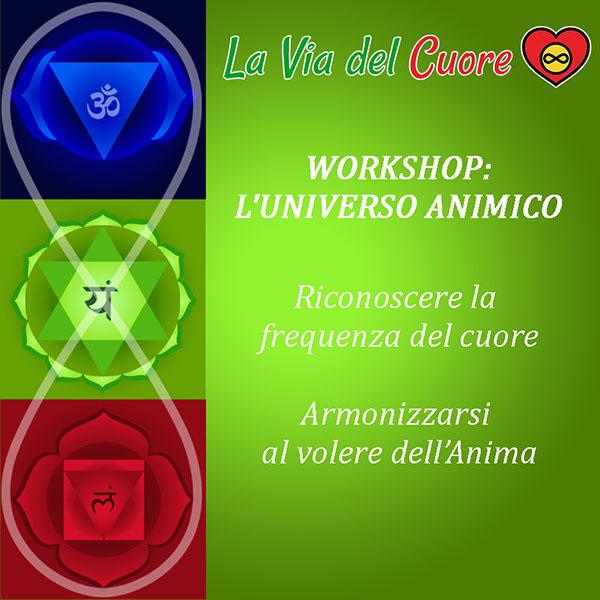 workshop l'universo animico:  Riconoscere la frequenza del cuore. Armonizzarsi al volere dell'Anima